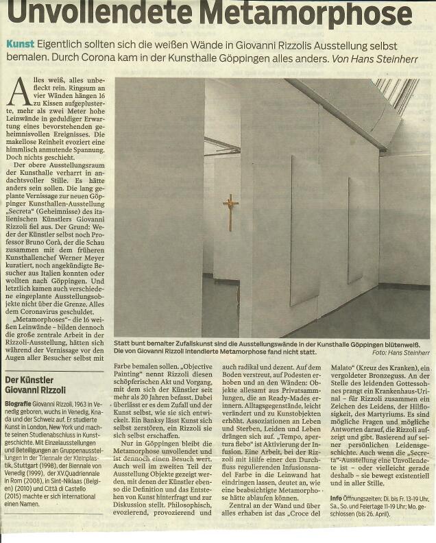 Unvollendete Metamorphose (Metamorfosi incompiute) per la mostra/non mostra di Giovanni Rizzoli