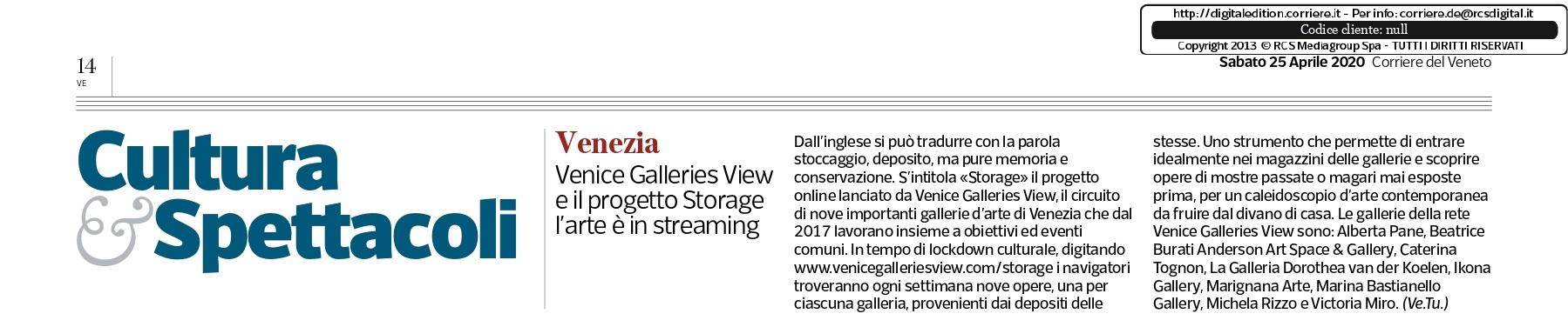 Venice Galleries View e il progetto Storage l'arte è in streaming